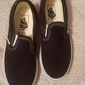 Boys Vans black slip on. NEVER WORN